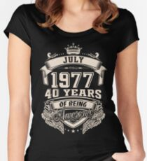 Born In July 1977 40 Years of Being Awesome Women's Fitted Scoop T-Shirt
