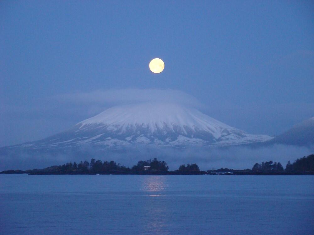 Moon over Mt. Edgecumbe, Sitka AK. by raypopp