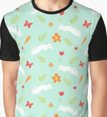 Happy Bunny Pattern Graphic T-Shirt