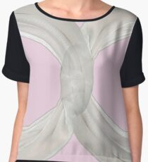 Infinity - White Ribbon on Ballet Slipper Pink Chiffon Top