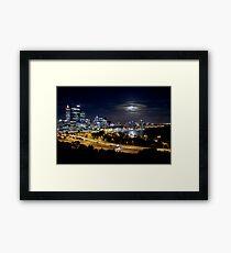 Perth CBD at night Framed Print