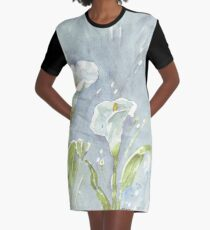 Arum lilies (and fireflies) at night Graphic T-Shirt Dress
