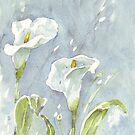 Arum lilies (and fireflies) at night by Maree Clarkson
