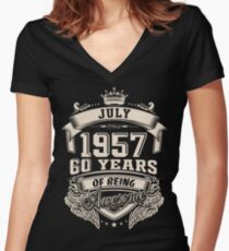 Born In July 1957, 60 Years Of Being Awesome Women's Fitted V-Neck T-Shirt