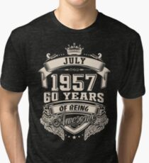 Born In July 1957, 60 Years Of Being Awesome Tri-blend T-Shirt