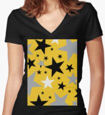 yellow stars Women's Fitted V-Neck T-Shirt