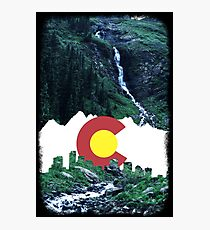 Colorado Creek and Flag Photographic Print