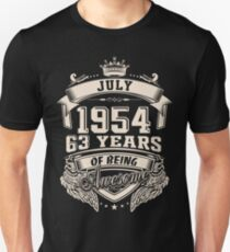 July 1954, 63 Years Of Being Awesome Unisex T-Shirt