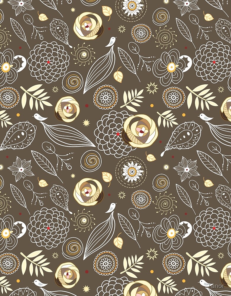 pattern of roses and birds by Tanor