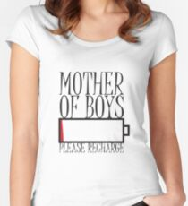 Tired Mother Of Boys Please Recharge Women's Fitted Scoop T-Shirt