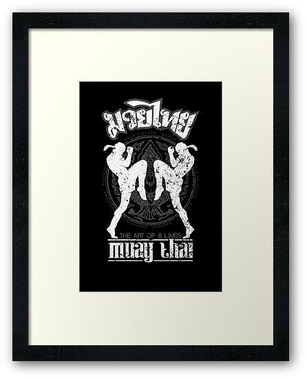 Muay Thai Shadow 2 Twin Fighter -Thailand Martial Art Tshirt - Scratch by lu2k