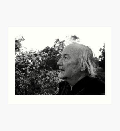 Elderly man amongst the Wattle trees Art Print