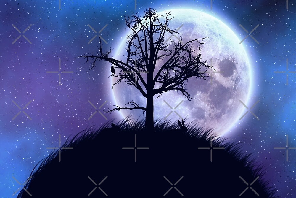 Big moon in the starry space and tree silhouette by AnnArtshock