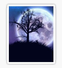 Big moon in the starry space and tree silhouette Sticker