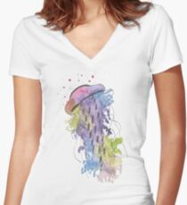 Qualle - Aquarell Women's Fitted V-Neck T-Shirt