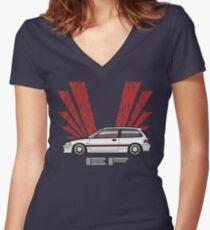 White EF 3 Women's Fitted V-Neck T-Shirt
