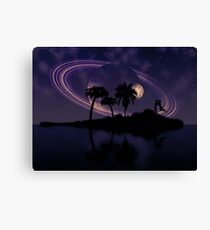 Abstract surreal tropical island silhouette and teen couple 2 Canvas Print