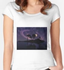 Abstract surreal tropical island silhouette and teen couple 2 Women's Fitted Scoop T-Shirt