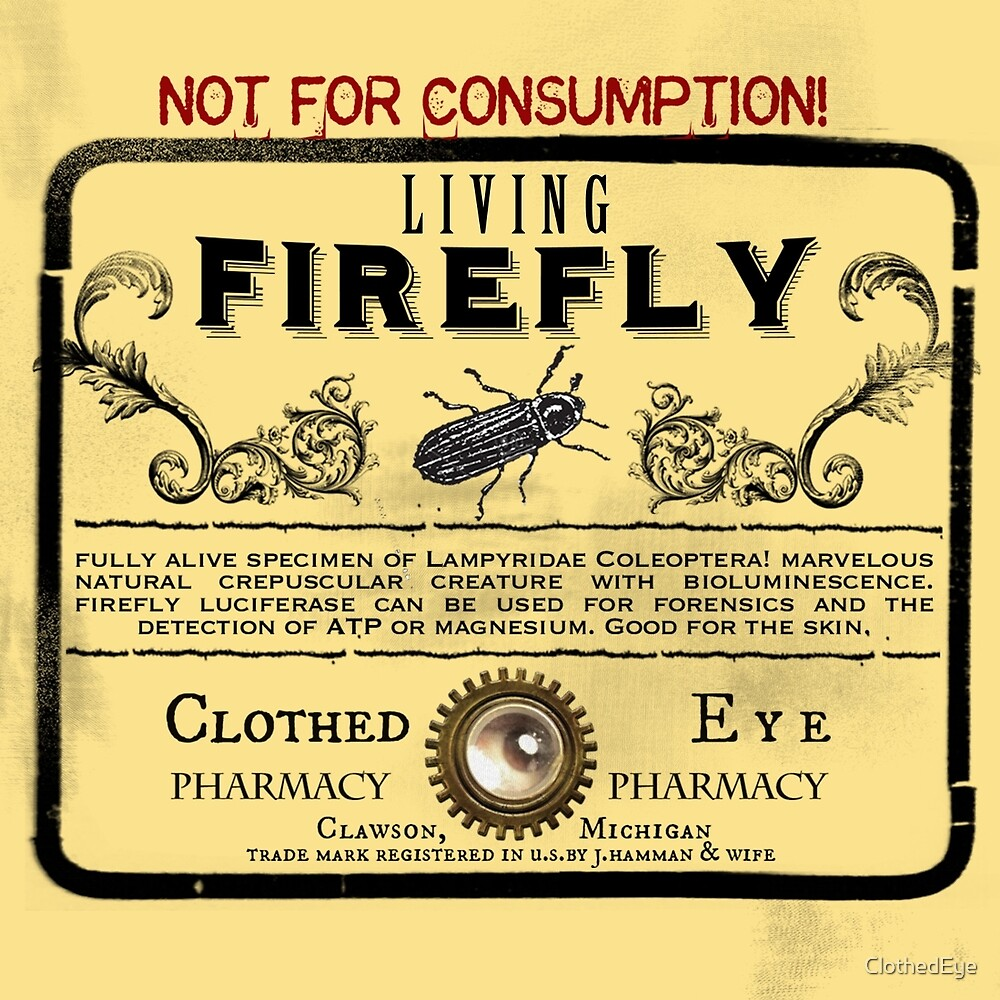 Living Firefly - Steampunk Apothecary Label by ClothedEye