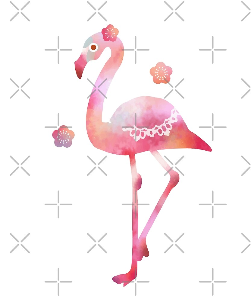 Pink Flamingo Watercolor Beautiful Bird Lover Gift by JapaneseInkArt
