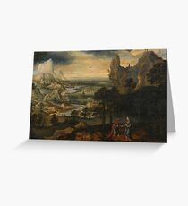 Lucas Gassel A MOUNTAINOUS LANDSCAPE WITH THE TEMPTATION OF CHRIS Greeting Card