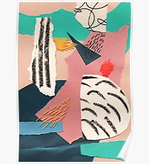 abstract collage with embroidery Poster