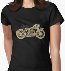 Gold Black Vintage Motorcycle with Quotes Womens Fitted T-Shirt