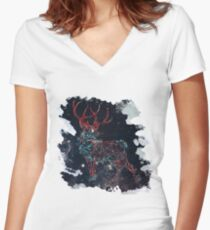 Celestial Deer Women's Fitted V-Neck T-Shirt