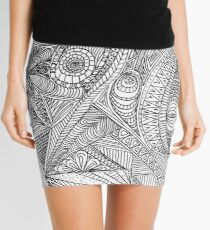 Black and white ink doodle pattern Mini Skirt