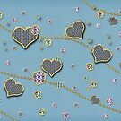 Jeweled Heart Print on Blue by Delights