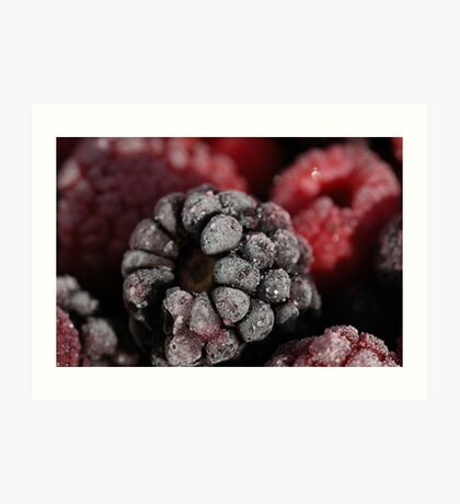 frozen raspberries Art Print