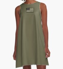 AMERICAN, ARMY, reverse side flag, Soldier, American Military, Arm Flag, US Military, IR, Infrared, USA, Flag, on BLACK A-Line Dress
