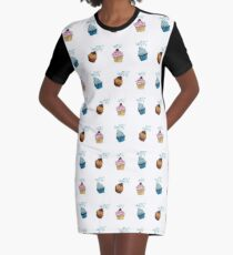 cup cake Muster T-Shirt Kleid