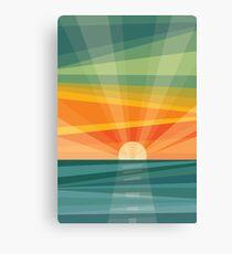 Sunset on beach / green field. Geometric abstract Canvas Print