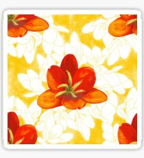 Red Flowers on a bed of white and yellow Sticker