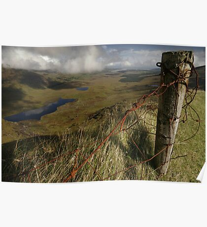 Rusty old fence at the Conor Pass Poster