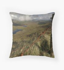 Rusty old fence at the Conor Pass Throw Pillow