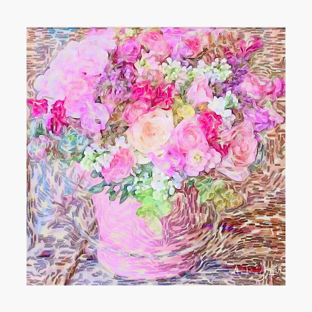 shabby chic painted, peonies, roses,shabby chic, painted, roses, floral,flowers,vintage,victorian,belle epoque,girly,soft,feminine,modern,trendy Photographic Print