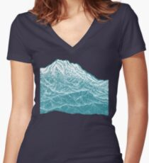 Distant Snow- 遠雪 : linocut Women's Fitted V-Neck T-Shirt