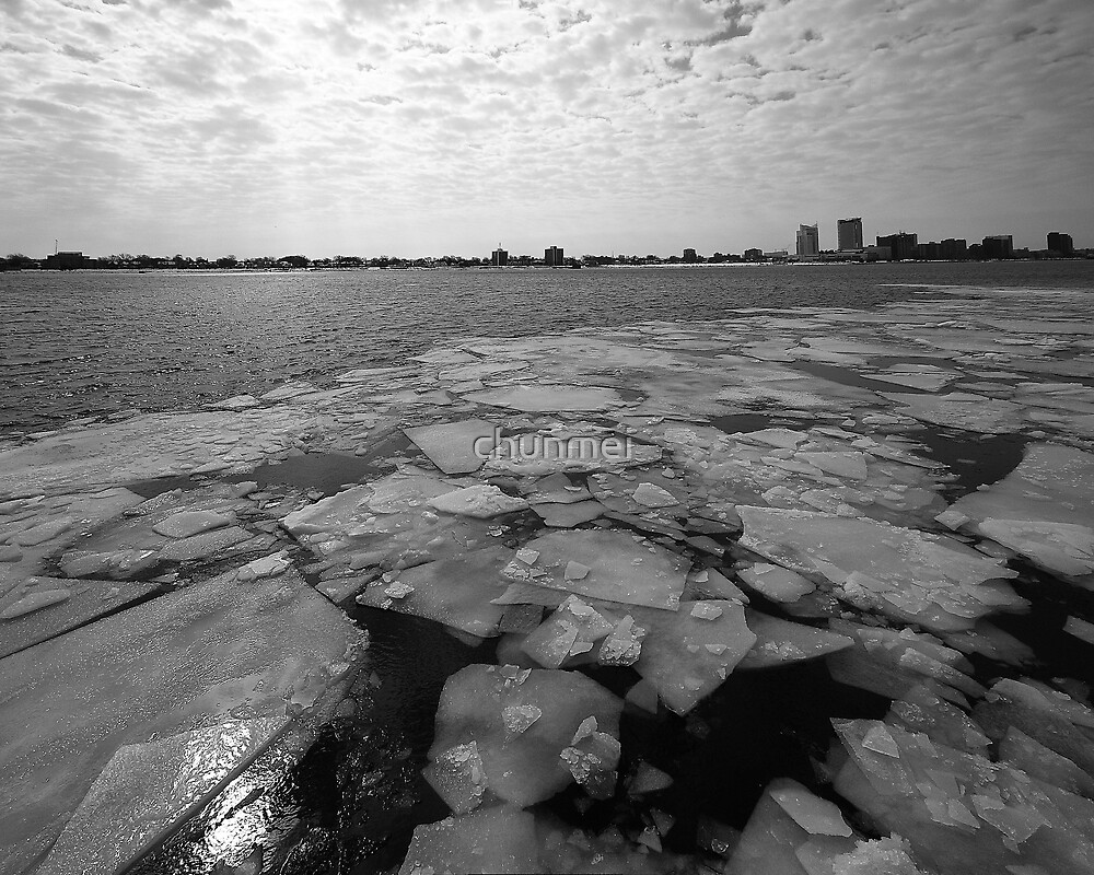 Detroit river with white ice  by chunmei