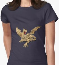 The Great Dragon Spirits - Golden Guardian Dragon on Red and Black Canvas Womens Fitted T-Shirt