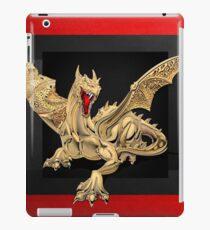 The Great Dragon Spirits - Golden Guardian Dragon on Red and Black Canvas iPad Case/Skin