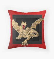 The Great Dragon Spirits - Golden Guardian Dragon on Red and Black Canvas Throw Pillow