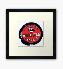 Retro grunge style Belgian Beer White Star Framed Print