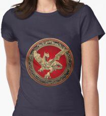 Golden Guardian Dragon over Black Velvet Womens Fitted T-Shirt