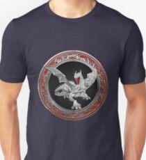 Silver Guardian Dragon over Red Velvet  Unisex T-Shirt