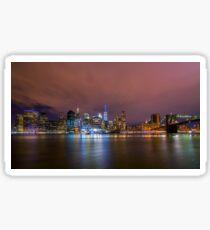 Downtown Manhatten Skyline at Night Sticker