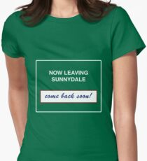 Sunnydale Sign - Now Leaving Womens Fitted T-Shirt
