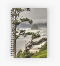 Mist at Haystack Rock Spiral Notebook