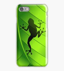 Frog Shape on Green Leaf iPhone Case/Skin
